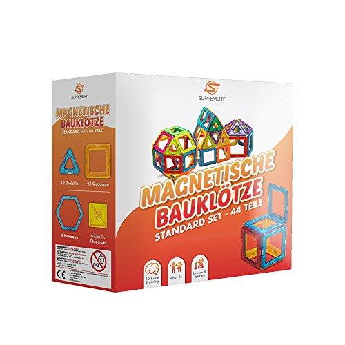Supremery Magnetische Bauklötze Bausteine Konstruktions-Spielzeug Set Magnetspielzeug Lernspielzeug Blöcke   Lassen Sie Ihr Kind duch Farben und Formen lernen   Kreatives und pädagogisches Geschenk für Kinder über 3 Jahre (44 Teile)
