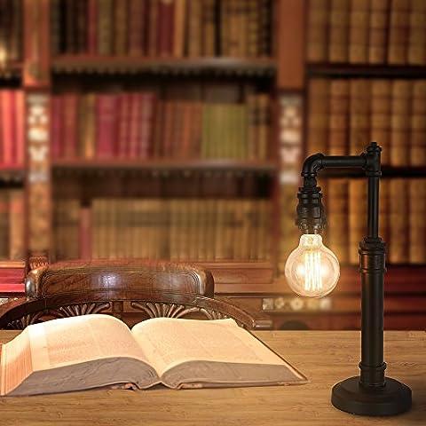 Trellonics® vintage industriel rustique d'eau Tuyau droit lampe de bureau avec/support de lampe E27à suspendre dans une couleur rouille