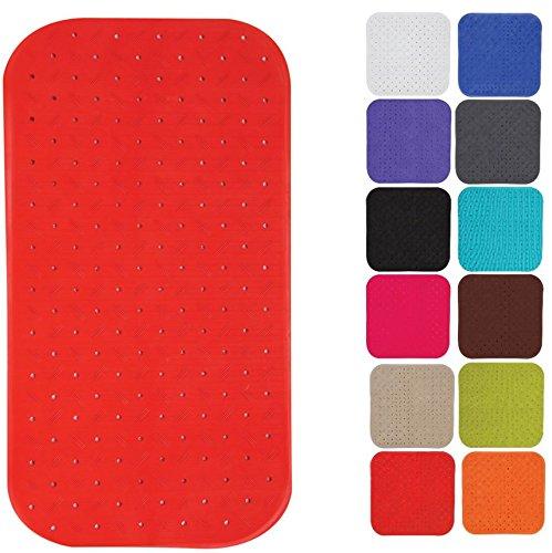 MSV Premium Duschmatte Badematte Badewannenmatte Badewanneneinlage antibakteriell rutschfest mit Saugnäpfen - Rot - duftet nach Rosen - ca. 36 x 76 cm - waschbar bei 60° Grad