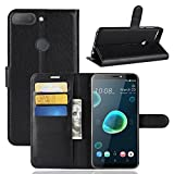 MaxKu HTC Desire 12+ / Desire 12 Plus Hülle, Premium PU Leder Mappen Kasten für HTC Desire 12+ / Desire 12 Plus Smartphone, Schwarz