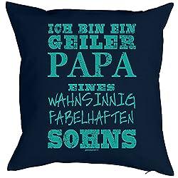 Papa Geschenk Polsterbezug ohne Füllung Kissenbezug ich bin ein geiler Papa eines ....Sohns für Väter Vatertagsgeschenk Weihnachtsgeschenk für Papa