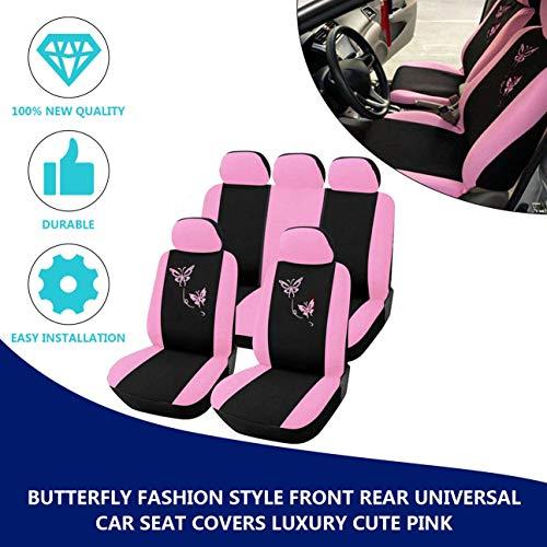 MachinYesity Butterfly Fashion Style Anteriore Posteriore Universale Car Seat Covers Carino Rosa Auto Veicoli Auto Coprisedili Ros