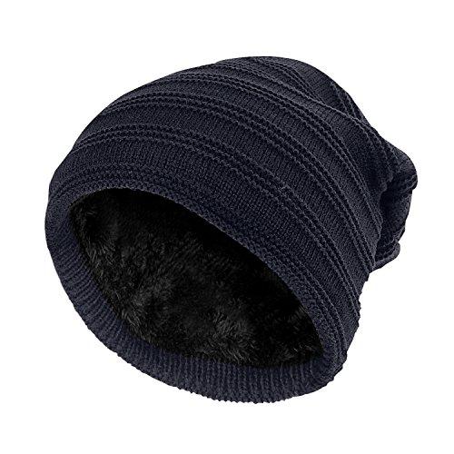 SANDALUP Wintermütze Gestrickte Mütze mit weichem Korallen Samt-Futter Mütze für Damen und Herren,Navy (Bear Beanie Stricken)