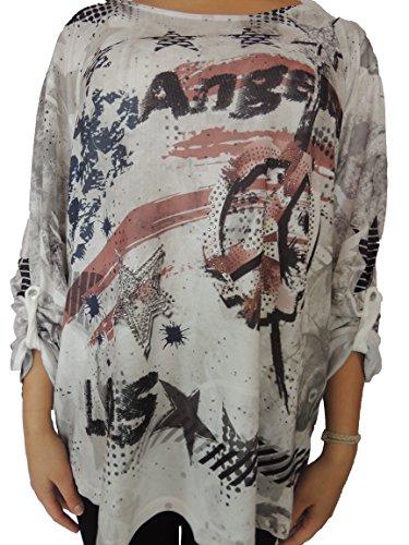 Verschiedene Farben zur Auswahl Blusen mit USA Style Größe 46, 48, 50, 52, 54 Dunkelgrau