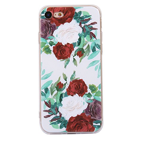 iphone 8 Handyhülle,iphone 8 Silikon Hülle,Cozy Hut 3D Handyhülle Muster Case Cover Für iphone 8 Liquid Crystal Ultra Dünn Crystal Clear Transparent Handyhülle Soft Cover Premium Anti-Scratch TPU Durc Rote und weiße Rose