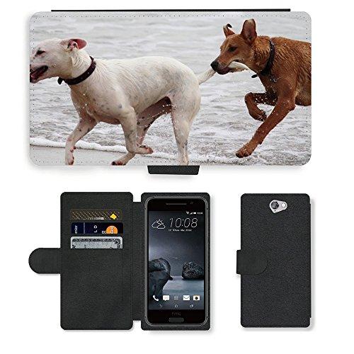 Just Phone Cases PU LEDER LEATHER FLIP CASE COVER HÜLLE ETUI TASCHE SCHALE // M00421764 Hunde Stöckchen zu spielen Beißen Romp // HTC One A9 (Not Fit M9)