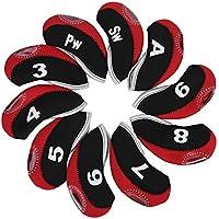 Dioche Cubiertas para la Cabeza del Club de Golf, 10 Piezas Impermeables Cubiertas para la Cabeza de Hierro para el Club de Golf Putter Set Protector Funda Accesorio de Golf(Negro y Rojo)