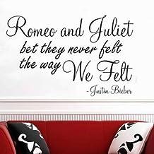 Adhesivo decorativo para pared–Romeo y Julieta poema Justin Bieber... Cuadro decorativo dormitorio salón cocina, Aqua, S - 60 x 30 cm