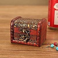 BIUBIUboom_ Jewelry Box Vintage Wood Handmade Box with Mini Metal Lock for Storing Jewelry Treasure Pearl
