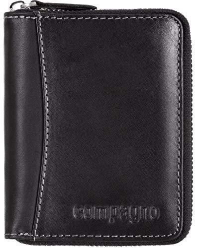 Compagno Echt-Leder Geldbeutel mit umlaufendem Reißverschluss Herren Portemonnaie Damen, Geldbeutel Farbe:Schwarz