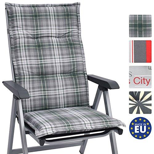 Beautissu Hochlehner Auflage für Gartenstuhl Loft HL Sunny 120x50x6cm Bequemes Sitzkissen - Polsterauflage UV-Lichtecht