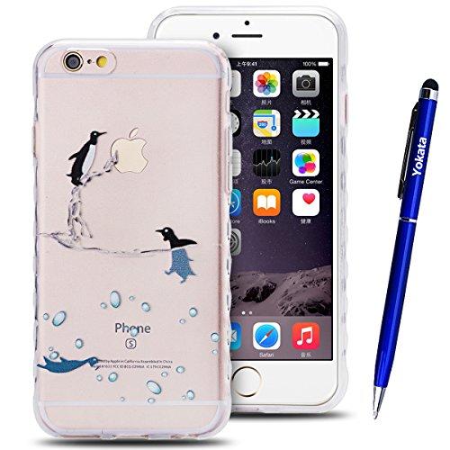 iPhone 6 / iPhone 6S Hülle, Yokata Transparent Weich TPU Soft Case mit Welle Anti-Slip Silikon Bumper Crystal Klar Schutzhülle Durchsichtig Dünne Case Cover + 1 X Stylus Pen - Vögel Delphin