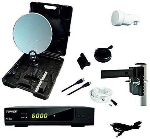 Opticum Camping Balkon HDTV Sat-Anlage mit HD AX300 Satelliten-Receiver (Single-LNB,Kabel (10m),HDMI-Kabel)