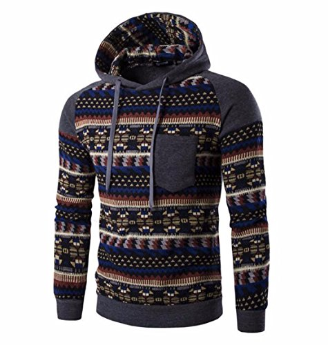 Men's Fashion Stripe Prints Slim Fit Pullover Hoodies DimGray