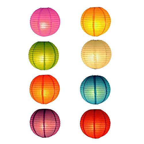 TSSS 8 Stück Mehrfarbig Chinesisches Papier Laternen für Hochzeit Party Floral Event Decoratio, 20,32 cm (8 Zoll)