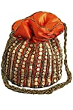 PHB3005 Orange und Antik Gold Indische Potli/Batwa Tasche Indian Fancy Potli Bag One Size