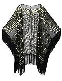 PrettyGuide Damen Schal Abendkleid Perlen 20er Jahre Fransen Übergroß Stola Gold