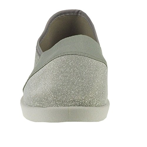 Textil Damenschuhe Fashion4young Silber effekt Metallic Stoffschuhe Slipper Damenslipper 20011 HvxO5X