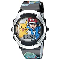 Pokemon Kids' POK3018 Digital Display Flashing LED Quartz Black Watch