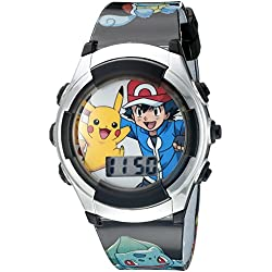 Pokemon Kids' POK3018 Digital Display Quartz Black Watch