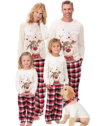 Beautyjourney famiglia pigiami natale pigiama bambina natale maniche lunghe ragazzi pigiama donna ragazze uomo due pezzi natale camicie da notte invernali - donna famiglia pigiama notte set di natale