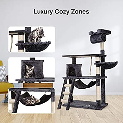 Petonaut Scratching Posts for Cats Cat Tree Cat Tower Multifunctional Deluxe Comfortable Cat Furniture Cat Condo Stable Cat Hammock Cat Tree Scratcher Activity Centre Dark Grey 141CM from Cheerforu