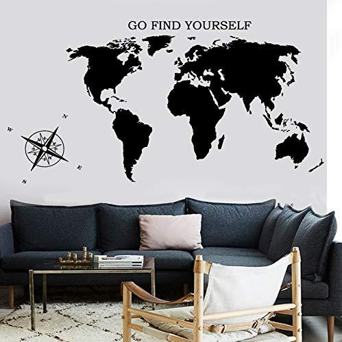 Wandaufkleber Wohnzimmer Weltkarte Atlas Kompass Gehen Finden Sie Sich Vinyl Warze Wandtattoo 110 *...