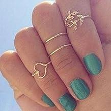 Sannysis® Moda placcato oro del cuore del foglio misto Knuckle Nail Ring Set di Quattro Anelli - Anelli