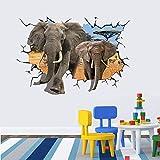 JUNMAONO Elefant Wandaufkleber/Tierwanderung Wandgemälde/Wand Poster/Wandbild Aufkleber/Wandbilder/Wandtattoo/Pinupbild/Beschriftung/Pad einfügen/Tapete/Tapezieren/Tapeten/Wand Zeitung/Wandmalerei/Haftnotiz/Fühlen Sie sich frei zu kleben/Instant Aufkleber/3D-Stereo-Wandaufkleber