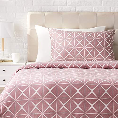 AmazonBasics - Juego de ropa de cama con funda de edredón, de satén, 135 x 200 cm / 50 x 80 cm x 1, Malva cuarzo