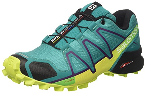 Salomon Damen Speedcross 4 W Trailrunning-Schuhe - Grün (Deep Peacock Blue/lime Punch./grape) , 37 1/3 EU