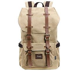 Fafada Sport Outdoor Backpack Laptop Backpack Vintage Canvas Leather Travel School Bag Rucksack Casual Daypack Kahki
