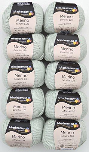 500g Wollpaket, 10x50g Schachenmayr Merino extrafine 120, Fb. 103 - mint, weiche, reine Merinowolle zum Stricken und Häkeln, Wollpakete Sonderposten
