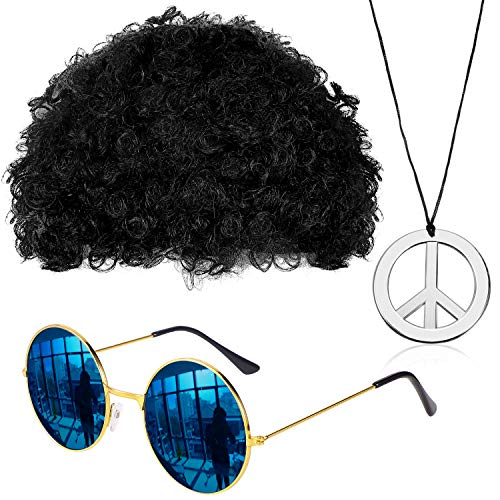 Schwarze Jumbo Afro Perücke - Gejoy Hippie Kostüm Set Funky Afro