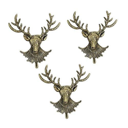 AUTULET 3 Stück der Männer einzigartiger antiker Hirsch lange Hörner Kopf Ehrennadel Vintage-Anzüge Shirts Brosche ansteckblume-Bronze -