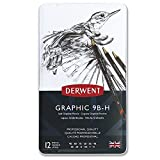 Derwent 34215 Graphic Soft Graphite Drawing Pencils, Set of 12, Professional Quality, 34215, Black