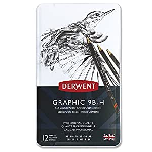 Derwent 34215 Graphic Soft Graphite Drawing Pencils, Set of 12, Professional Quality, 34215