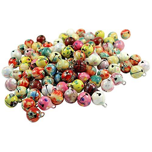 Kleenes Traumhandel 100 Laute marmorierte Glöckchen Schellen mit Öse - ca. 17x13 mm - Aus Kupfer