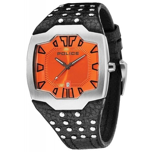 Police Beast Men's Mechanical Watch with Orange Dial Analogue Display and Black Leather Strap 13634JS/17
