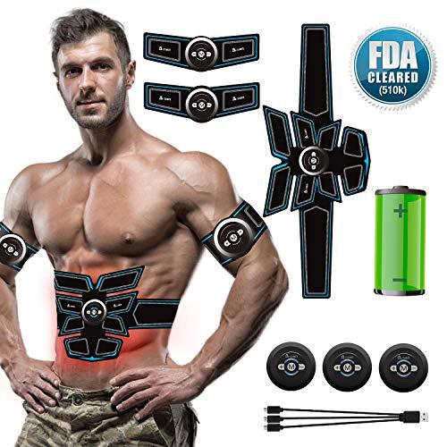 A-TION EMS Muskelstimulator Bauchmuskeltrainer Gürtel, USB Wiederaufladbar Elektrostimulation Muskel Trainer Fitness Gerät für Arm Bauch Beine Bizeps Muskelaufbau und Fettverbrennung