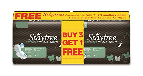 Stayfree Advanced All Night - 7s Buy 3 Get 1 Free (28 pads, Save Rs. 85)