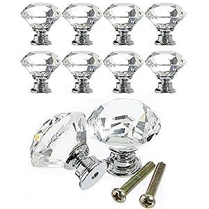 8X Diamant Kristall Moebelknopf Moebelknoepfe Moebelgriffe Moebelknauf Griff Knopf Schrankgriff Haushaltsgegenstände