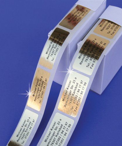 Edle Goldfolie-Etiketten mit Ihrem Wunschtext, 300 Stück, ca. 51 x 19 mm groß, für bis zu 5 Zeilen Text - SEHR EDEL UND HOCHWERTIG