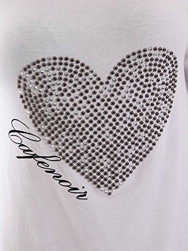 Cafè Noir JT062 T-shirt à manches longues CRYSTAL COEUR 203 BIANCO