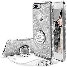 Funda iPhone 7 Plus,Banca Correa Para el Cuello Movil Bling Glitter Resplandecer Diamante de Imitación Transparente Caso el iPhone 7 Plus - Argenta