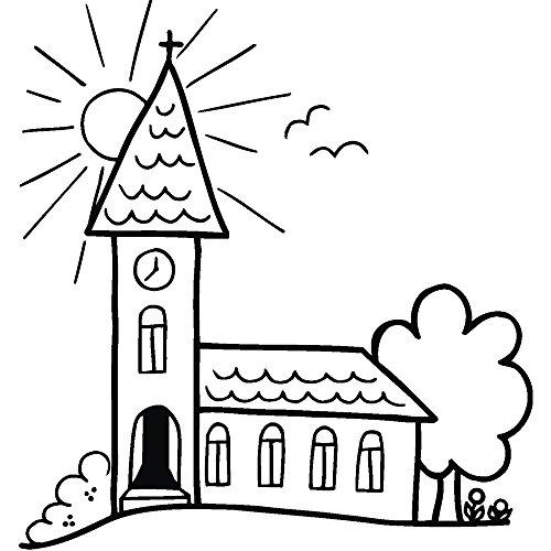 RAYHER 28805000, H.- Stempel Kirche mit Sonne, 7 x 7 cm, Artikel 27935