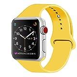 ZRO für Apple Watch Armband, Soft Silikon Ersatz Uhrenarmbänder für 38mm iWatch Serie 3/ Serie 2/ Serie 1, Größe M/L, Gelb