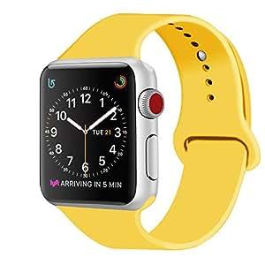 ZRO Cinturino for Apple Watch, Morbido Silicone Braccialetto Sportiva di Ricambio per 42mm iWatch Serie 3/ Serie 2/ Serie 1, Taglia M/L, Giallo