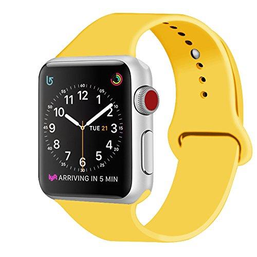 ZRO für Apple Watch Armband, Soft Silikon Ersatz Uhrenarmbänder für 42mm iWatch Serie 3/ Serie 2/ Serie 1, Größe M/L, Gelb