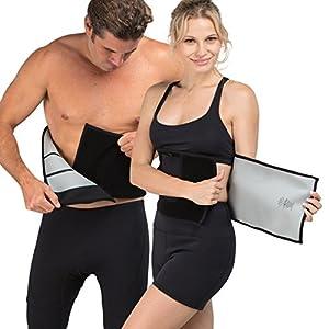 Delfin Spa Unisex Fitnessgürtel Schwitzeffekt Neopren mit Biokeramik Fasern  ,Schwarz, L